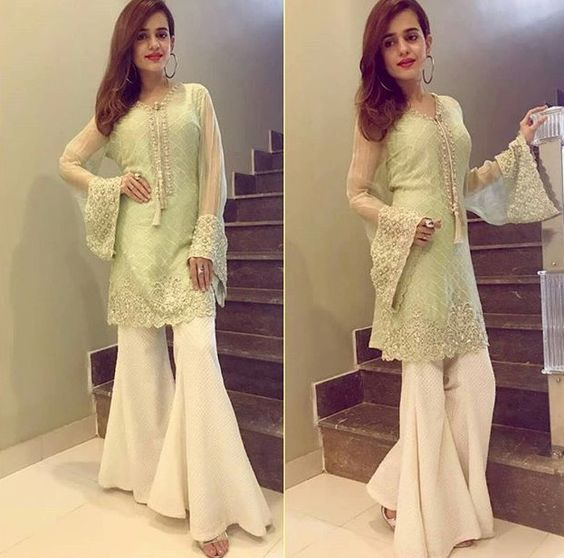 Stitching Styles Of Pakistani Dresses Light Green peplum
