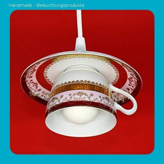 Geschirrlampe Boho K/üchenlampe aus Tasse Vintage Lampe aus Geschirr Tassenlampe