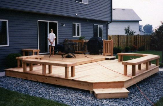 small backyard deck designs | Cedar Multi-level patio deck with paving stones at ground level and ...