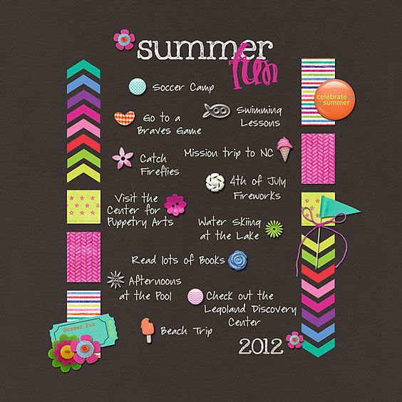 Summer Fun List by ashleywb  This is such a cute and fun photo-less layout.