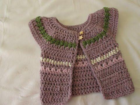 VERY EASY chunky crochet baby / girl's cardigan tutorial - fair isle sweater / jumper - YouTube