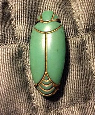 Antique Green Glass And Metal Scarab Button, Art Deco Style
