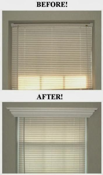 I Love Crown Molding...Crown Molding Above Window Blind for my room windows