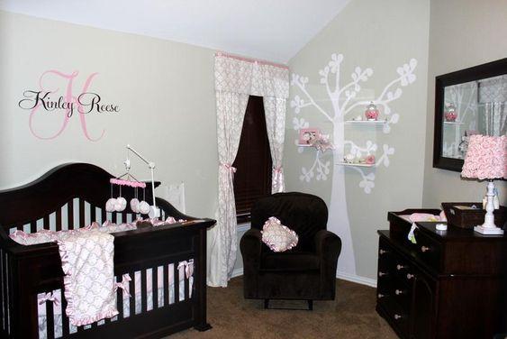 Baby Girls Nursery- Love The Dark Furniture With The Light