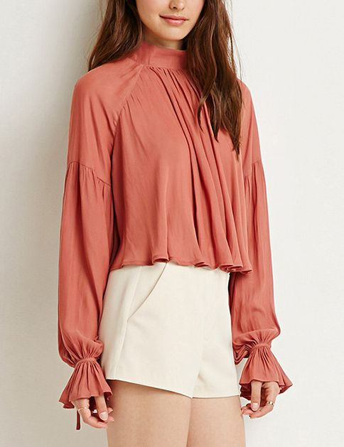 Pink Stand Collar Ruffle Crop Blouse 15.45