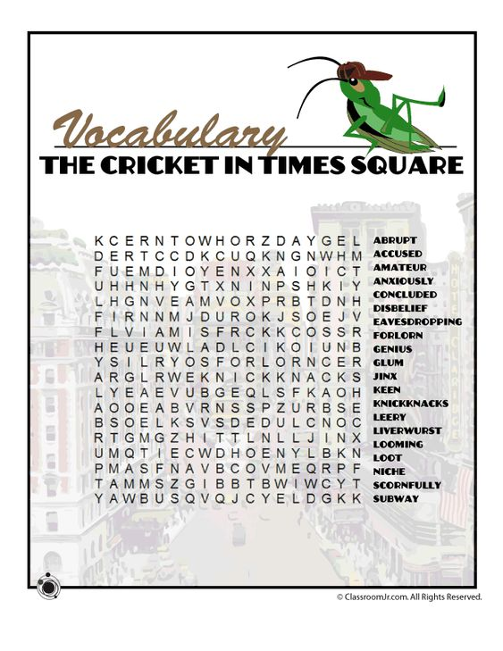 The Cricket in Times Square Vocabulary Word Search | Classroom Jr ...