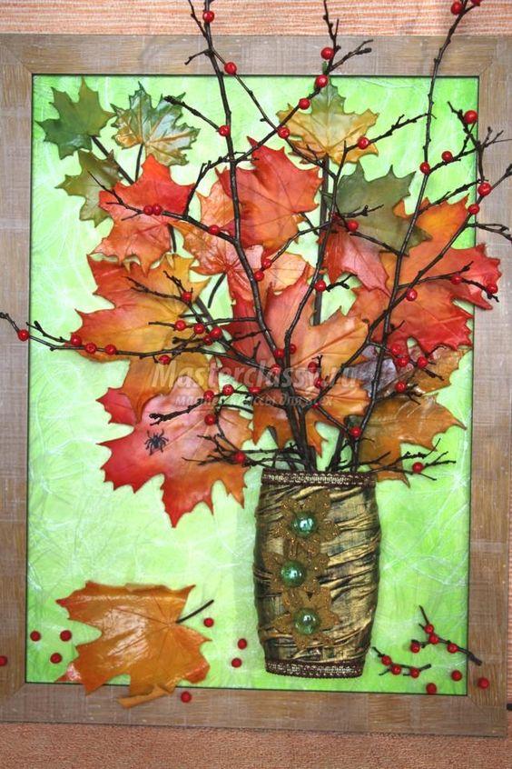 картина-панно с кленовыми листьями из холодного фарфора