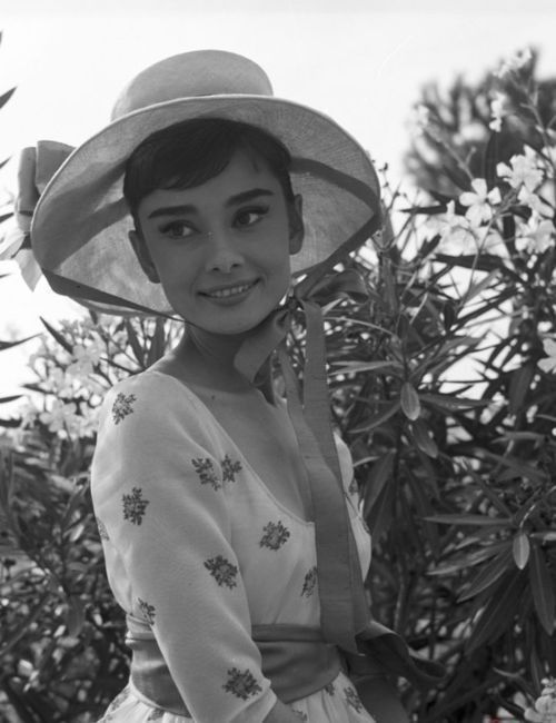 Audrey Hepburn on the set of 'War and Peace', 1955.