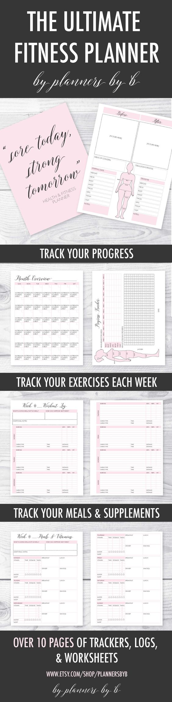 This is such a cute and easy way to keep track of your fitness! This printable fitness planner comes with meal planners, workout logs, progress trackers & more!