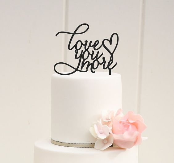 Love You More Wedding Cake Topper  Custom by ThePinkOwlDesigns