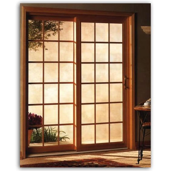 Sliding glass door glass doors and swinging doors on for Sliding glass doors that look like french doors