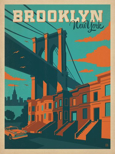 brooklyn bridge print vintage travel posters new york and inspiration. Black Bedroom Furniture Sets. Home Design Ideas