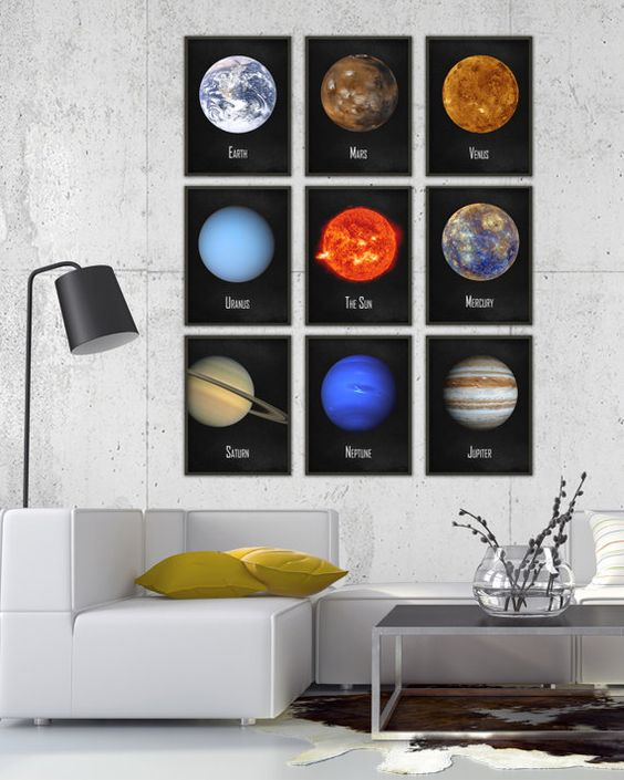 The Solar System Wall Art Poster Set Of 9   NASA Astronomy Prints   Cosmos  Home
