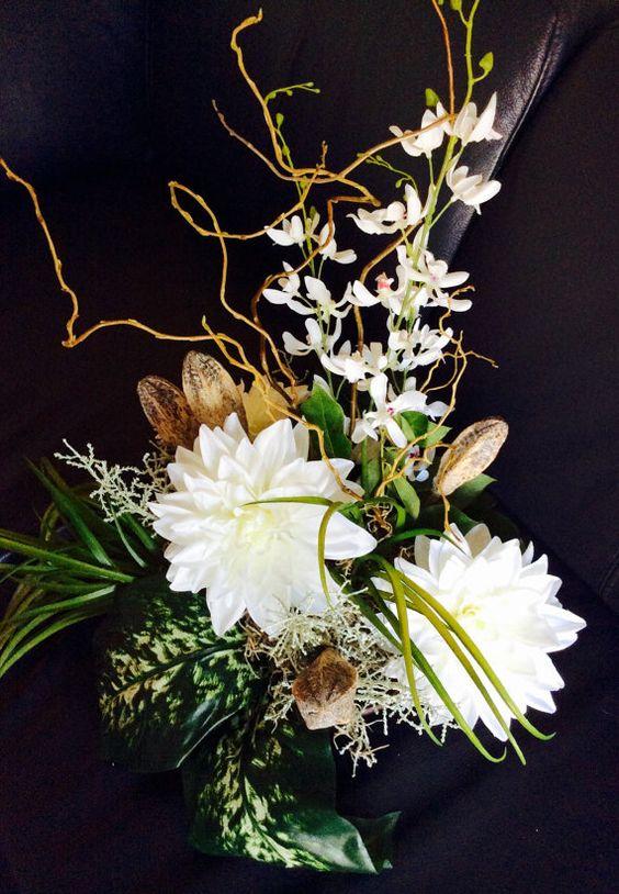 White contemporary silk flowers centerpiece. by ArtiFlora on Etsy