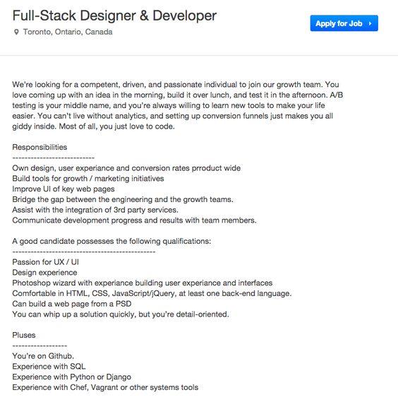 Full stack DEsigner Careers Page Layouts Pinterest - full stack developer resume