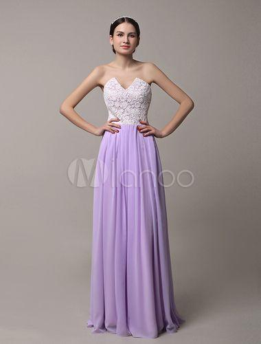 Vestido de damas de honor de color lavanda con escote strapless sin mangas de encaje hasta el suelo - Milanoo.com