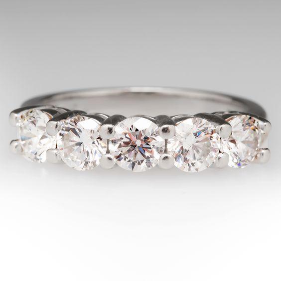 5 stone diamond wedding band ring 14k diamonds