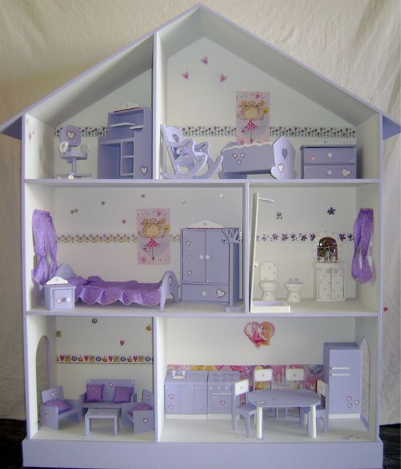 Casita de mu ecas barbie pintada y decorada 955 00 for Casas de muebles en montevideo