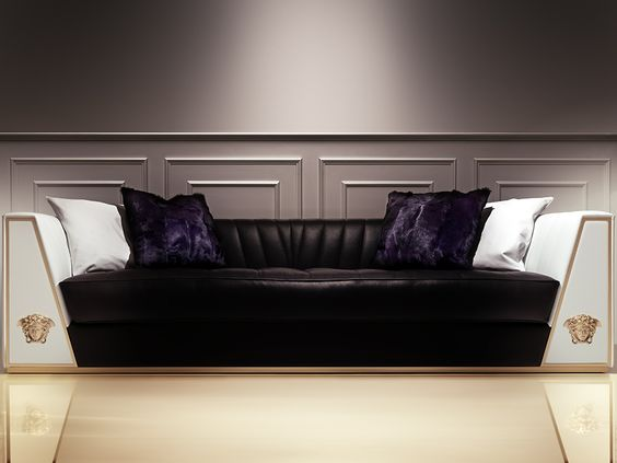 The Atelier edition of the Via Gesù sofa is the quintessence of Versace Home. Luxurious and unique, its exclusive design presents gold metal finishes mixed with black and white leather. #Versace #VersaceHome