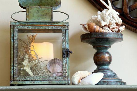 verdigris lanterns with seashells