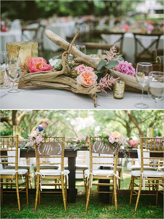 driftwood centerpiece and mr and mrs signs @weddingchicks