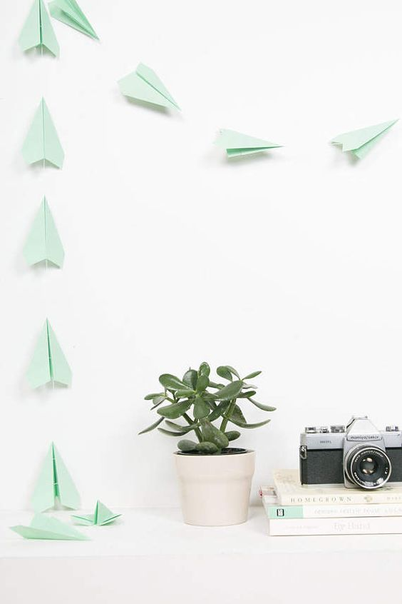 Mint Green Paper Airplane Garland Party Decor Paper