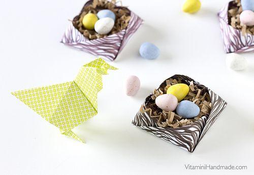 Caixa para nunho de ovos com papel imprimivel - Fold an origami nest for Easter