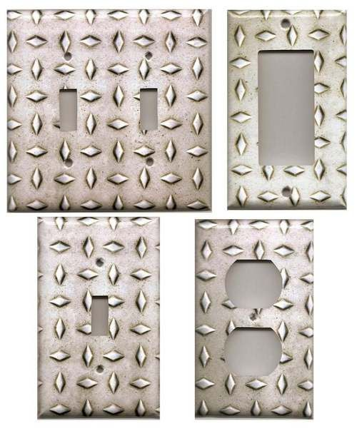 Silver Rugged Diamond Plate Man Cave Garage Various Sizes/Types (Not Metal)  -- perfect little touch for cars bedroom
