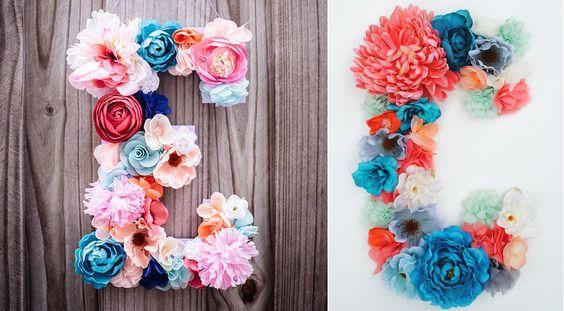 Veja como fazer letras de papelão 3D com flores! O resultado pode ser usado tanto para decorar sua casa como em festas. Confira!: