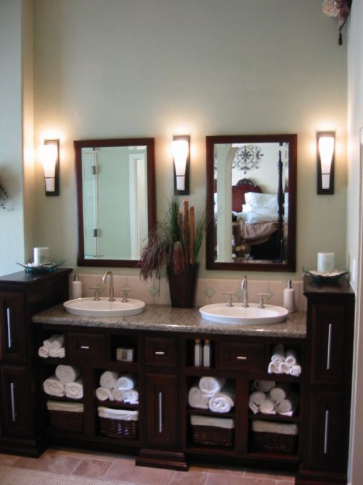 Master bath i like the openness and dark cabinetry and granite countertops and double mirrors - Double sink vanity countertop ideas ...