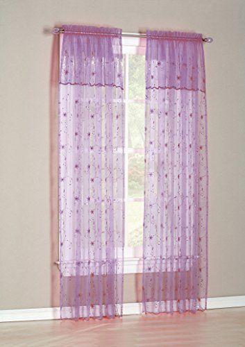 No. 918 Flora Embroidered Sheer Curtain Panel, 50 by 63-Inch ...