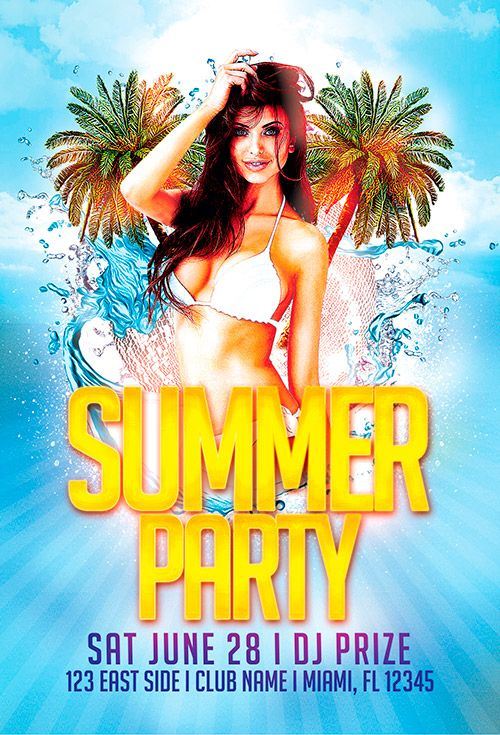 Free Flyer Summer Beach Party Template - http\/\/freepsdflyer - pool party flyer template