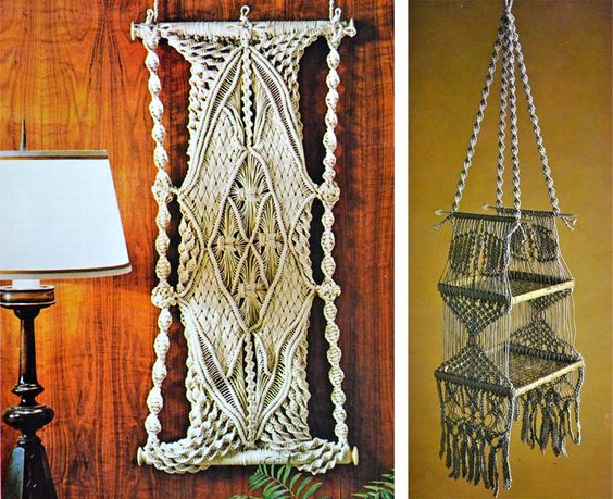 tapiz y estanteria de macrame