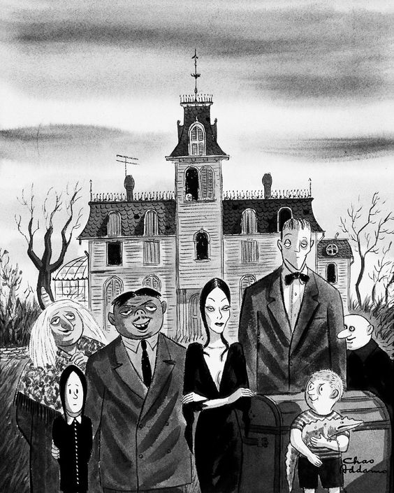 The Addams Family vintage illustration by Charles Addams for The New Yorker magazine