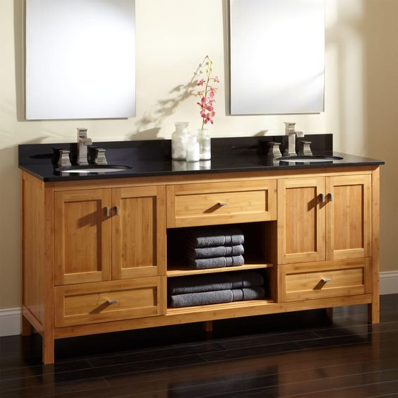 Bamboo Vanity Bathroom Inspiration Decorating Design
