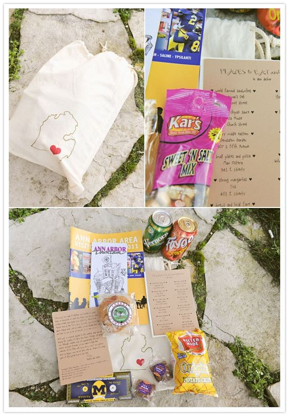 Michigan Wedding  Michigan themed goodie bags for wedding guests staying from out of town!! PRECIOUS.