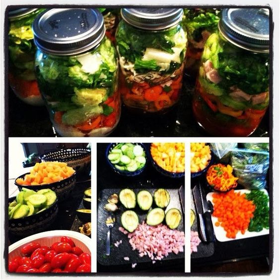 Salad in a jar , laid out instructions for how to do it yourself.