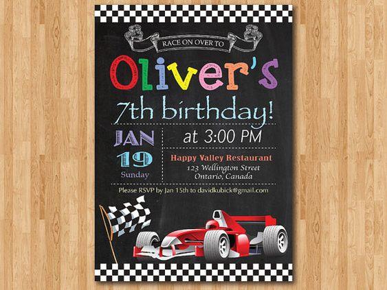Rennen-Auto-Geburtstag-Einladung. Junge Car Racing-Geburtstags-Party einladen. Tafel Bday lädt. Ferrari Formel 1. Druckbare digitale basteln.