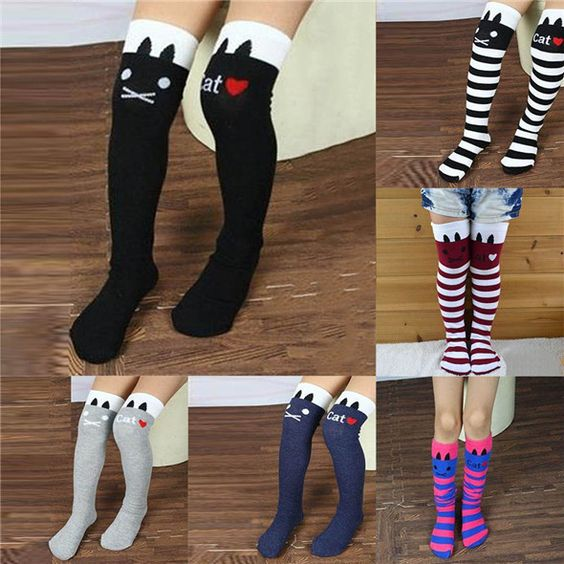 toddlers kids girls knee high socks school cotton tights striped stockings for girls 1 8y - Collants Colors