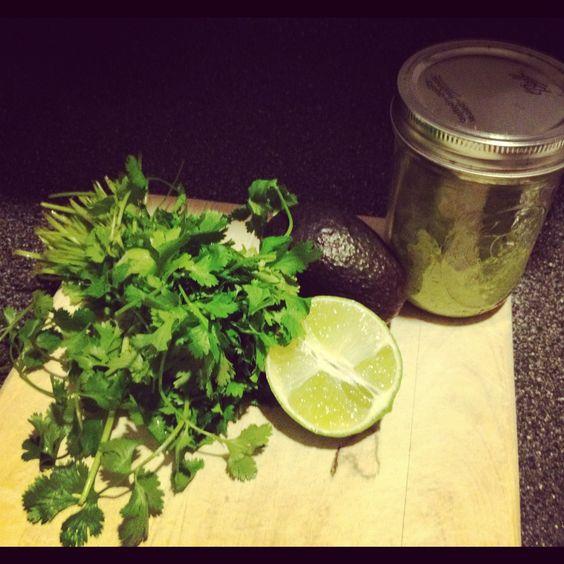 For tonight's tofu tacos Creamy avocado sauce- Greek yogurt Avocado Cilantro Olive oil Salt Pepper Lime
