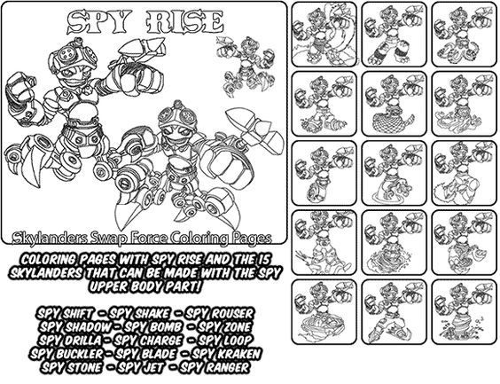 spy gear coloring pages | Printable coloring page for kids with Skylanders Swap ...