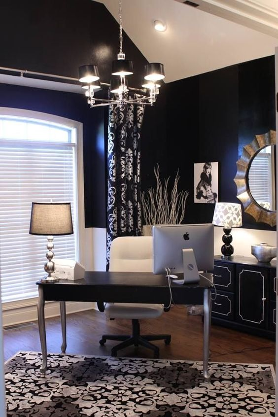 love the contrast in colors and the chandelier home office study black white home office study