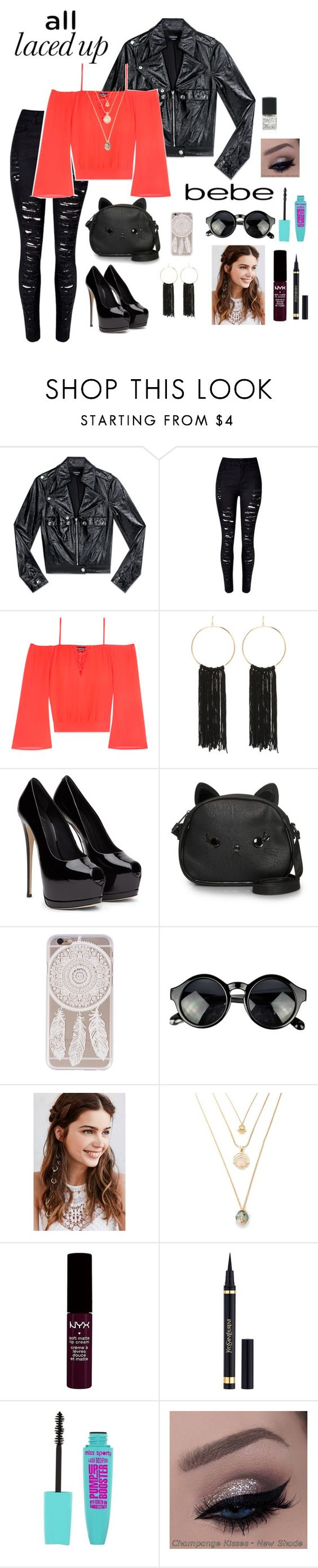 """""""All Laced Up for Spring with bebe: Contest Entry"""" by thatawkwardfangirljulia ❤ liked on Polyvore featuring Bebe, WithChic, Loungefly, REGALROSE, NYX, Yves Saint Laurent and alllacedup"""