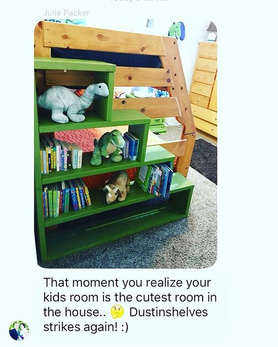 Is this room cute or what?!? Nothing like a happy dinosaur on a cute shelf to kick off the weekend! So glad you like the stairs/shelves @juliehpacker! Cute space!!