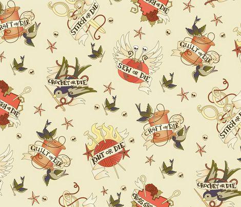 Craft Tattoo - Vintage fabric by urban_threads on Spoonflower - custom fabric