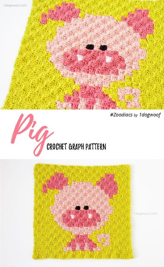C2c crochet, Pigs and Crochet on Pinterest
