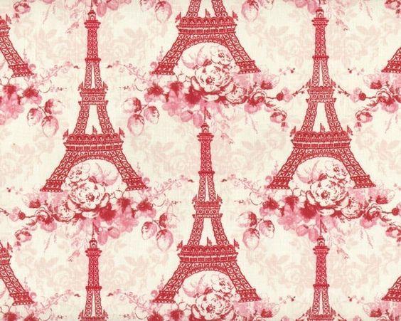 """Patchworkstoff """"Penelope"""", Paris mit Eiffelturm und Blumen, creme-pastellrot"""