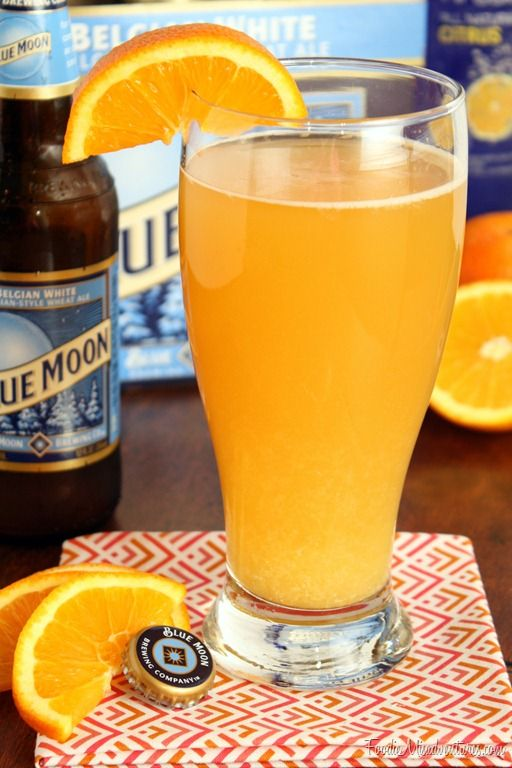 Citrus Beer Cocktail --// 1(12 oz) bottle of wheat beer, such as Blue Moon /       1 shot flavored vodka     / ½ shot Grand Marnier or orange liqueur     / ¼ cup Orange juice     / Orange slice for garnish (optional)  //  Slowly pour beer into a chilled glass. Add citrus vodka, Grand Marnier and orange juice to the glass of beer. Stir gently to combine and garnish with an orange slice.