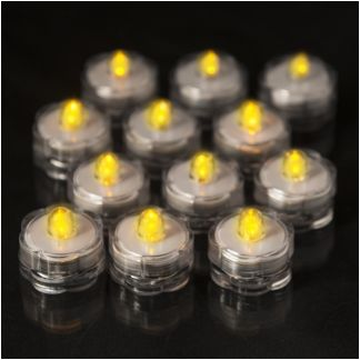 Set of 12 Submersible Amber Flickering LED Tea Lights Only $0.99 Each!