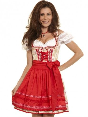 minidirndl elaina beige rot kr ger madl dirndl. Black Bedroom Furniture Sets. Home Design Ideas
